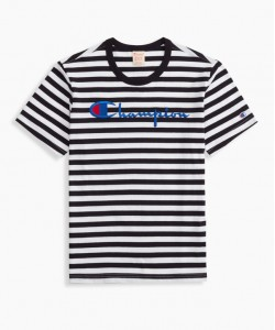 STRIPED SCRIPT LOGO CREWNECK T-SHIRT