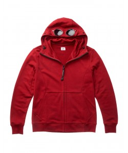 DIAGONAL RAISED FLEECE GOGGLE HOOD SWEATSHIRT